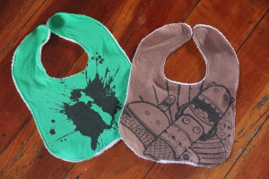 Monster and slodge t-shirt bibs.